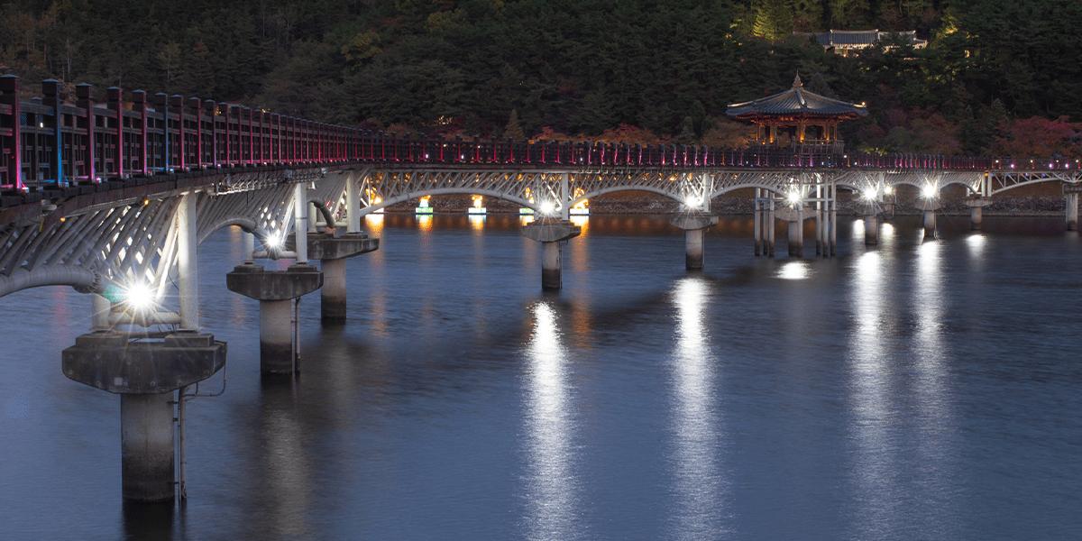 Woryeonggyo Brücke bei Nacht Andong Südkorewa